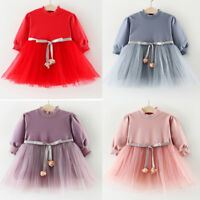 Toddler Kids Girl Long Sleeve Tulle Princess Tutu Dress Wedding Party Gown AU