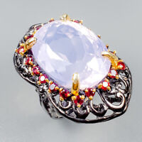 Top AAA30ct+ Natural Lavender Amethyst 925 Sterling Silver Ring Size 8/R124782