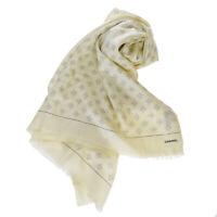 Auth CHANEL CC Logo XL Scarf Handkerchief  Silk Cashmere White Italy 38SA389