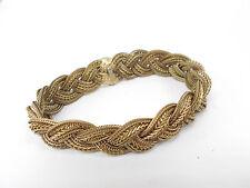 Auth CHANEL Gold Tone Fashion Bangle Bracelet Vintage Chain Logo 1643