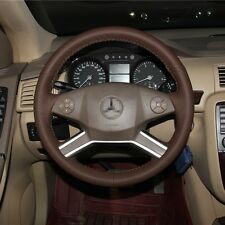 1 set Brown Leather Wrap Steering Wheel Cover Stitch on For Benz R350