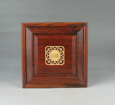Chinese suanzhi wood rosewood inlay boxwood flower small square jewelry box 4.2""