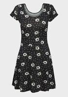 Ladies Floral Dress Womens Black White Mini Short Sleeve Skater 8-16