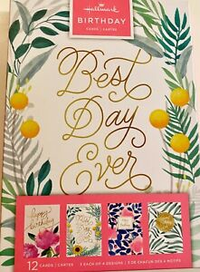 Birthday Card- Colorful Assorted Birthday Cards, Pack of 12