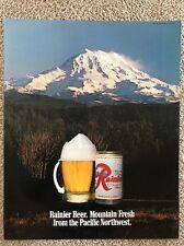 Vintage Rare Rainier Beer Poster, Mountain Fresh, Mount Rainier