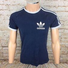 Adidas OG Originals Crew Neck T-Shirt Top 3 Stripe Blue  Sz Small / S Mens