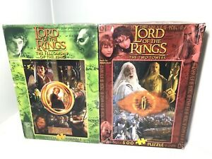 2x Vintage Lord Of The Rings 500 Piece Puzzle Fellowship & Two Towers Blue Opal