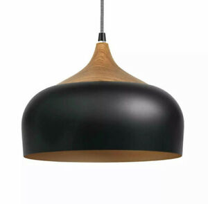 Pendant Light Modern Lighting with LED Bulb, Wood Pattern Ceiling Hanging Lamp