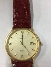 FESTINA VINTAGE 18k GOLD SAPPHIRE CRYSTAL CROCODILE LEATHER BAND RARE WATCH