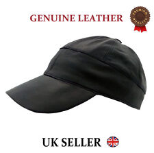New Baseball Black Mens Ladies Real Soft Genuine Lambskin Leather Cap Hat Winter