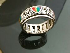 Beautiful Claddagh Hearts Double Spinner Ring With Pretty Rainbow Hearts