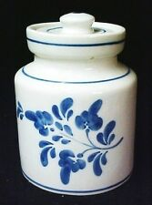 Cookie Jar Canister Cobalt Blue Flower Leaf Signed Hand Painted Candida Treats