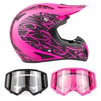 Pink Adult Off Road Helmet Combo Black or Matte Pink Goggles DOT Dirt UTV ATV MX