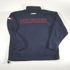 Tommy Hilfiger Jeans Navy Fleece 1/4 Zip Pullover Sweatshirt XL Spell Out VTG