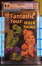 Fantastic Four #112 CGC 8.0, Hulk vs Thing Battle, Marvel