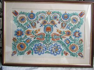 Well Framed & Glazed 1930's Embroidery With History On Reverse of Frame