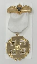 Scottish Rite Commander In Chief Wings Down Jewel in Gold Tone with White Ribbon