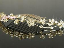 Boda Graduación Dama De Honor cristal bañado en oro Peineta Tiara Navidad tc010g