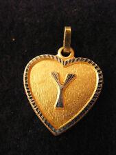 Pendentif Coeur Médaillon en Or Plaqué Lettre Y 2 cm
