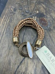 Barse Bijoux Toggle Bracelet- Mother of Pearl- Bronze & Leather- NWT