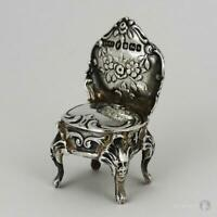 VICTORIAN IMPORT STERLING SILVER MINIATURE CHAIR Sheffield 1900 S Boyce Landeck