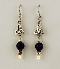 Sterling Silver Irish Celtic Trinity Knot Earrings w/ genuine Garnet beads