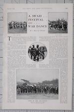 1901 PRINT SWAZI FESTIVAL WAR DANCE WARRIORS & WOMEN PREMIERES DANSEUSES