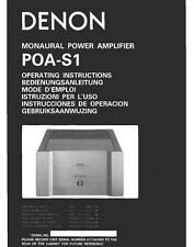 Denon POA-S1 Amplifier Owners Instruction Manual