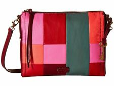 FOSSIL NWT $148 Emma crossbody Shoulder Bag bright patchwork Genuine Leather Zip