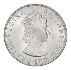 Choice BU Unc 1964 Bermuda 1 Crown Silver Coin - Mint State *794