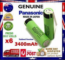 6x Panasonic NCR 18650 B 3400mAh TABBED Li-Ion Rechargeable Battery GENUINE
