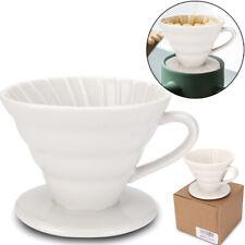 Ceramic Coffee Dripper Pour Over Coffee Maker,Cone Shaped Drip Brew Filter White