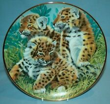 "The Trinity Collection Call of the Wild African Leopard Cubs 8"" Decorative Plate"