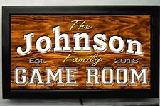 LED LIGHTED GAME ROOM SIGN  -PERSONALIZED HOME DECOR