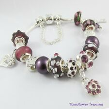 Purple European Bead & Charm Starter Charm Bracelet with Safety Chain 20cm