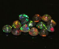 AA++ Natural Black Fire Opal 3.5 MM Faceted Round 14Pcs Lot Loose Gemstone C4540