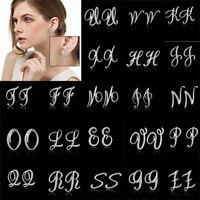 Fashion Women Silver A-Z 26 Initials Letter Alphabet Rhinestone Stud Earrings