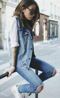LEVI'S Denim Vest Mandarin Collar Vintage Style Women's Size: M