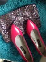 Ladies Pink Court Shoes Size 5/5 And  Sparkly Clutch Bag