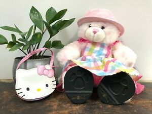 "New BUILD A BEAR 15"" Pink TEDDY BEAR + Accessories HELLO KITTY Purse FLIP FLOPS"