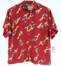 NEW Armadillo Men's Hawaiian Shirt-Red Yellow Palm Trees Button Down-Size XXL