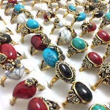 30x Gold Vintage Turquoises Ring Retro Ancient Tibet Natural Stone Artistic Ring