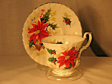Vintage Royal Albert Poinsettia Teacup and Saucer Fancy Gilt Christmas