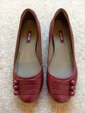 ECCO Women's Keystone Leather Flats Shoes UK 5 Port Red Christmas Black Friday