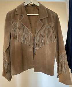 Real Suede Leather Fringed Jacket Brown Western Vintage