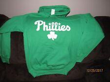 MLB GREEN IRISH PHILADELPHIA PHILLIES TEAM LOGO HOODIE SIZE SMALL
