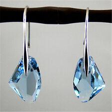 Fashion Women Jewelry Aqua Blue Crystal Drop Silver Hook Dangle Earrings Party
