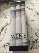 NEW MENS 3 MULTI-PACK GIFT BOXED 100% COTTON WHITE STRIPED HANDKERCHIEFS HANKIES