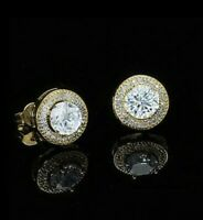 14K Gold Plated Stud Earrings, Round, Made with Swarovski Crystals. New in Box!