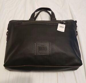 Coach Bleecker NY Mens Gray-Blue Leather Academy Holdall Briefcase 32251